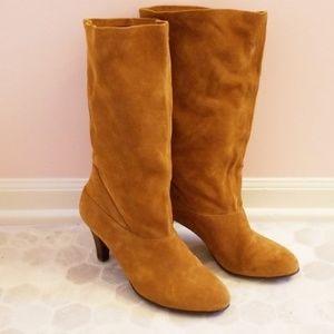 Kelsi Dagger camel suede scrunch boots